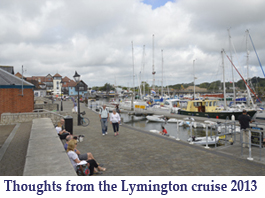 Thoughts from the Lymington cruise 2013 button